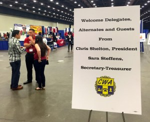 A new welcome sign greeted CWA Convention delegates arriving Tuesday morning at the Cobo Center in Detroit.