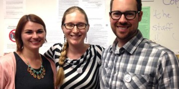 ESL teachers Rachel Turner, Jessica Mironov and Shane Baker celebrate NLRB election results.  Their unit has joined Local 39521.  Photo by staff 2015