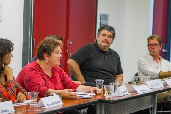 Rachel Lederman of the National Lawyers Guild explains journalists' rights covering demonstrations while SF Chronicle photographer and Guild member Carlos Avila Gonzalez looks on.  Guild executive officer Carl Hall, far right, was also a Know Your Rights panelist.  Photo by Shadia Fayne Wood 2016.