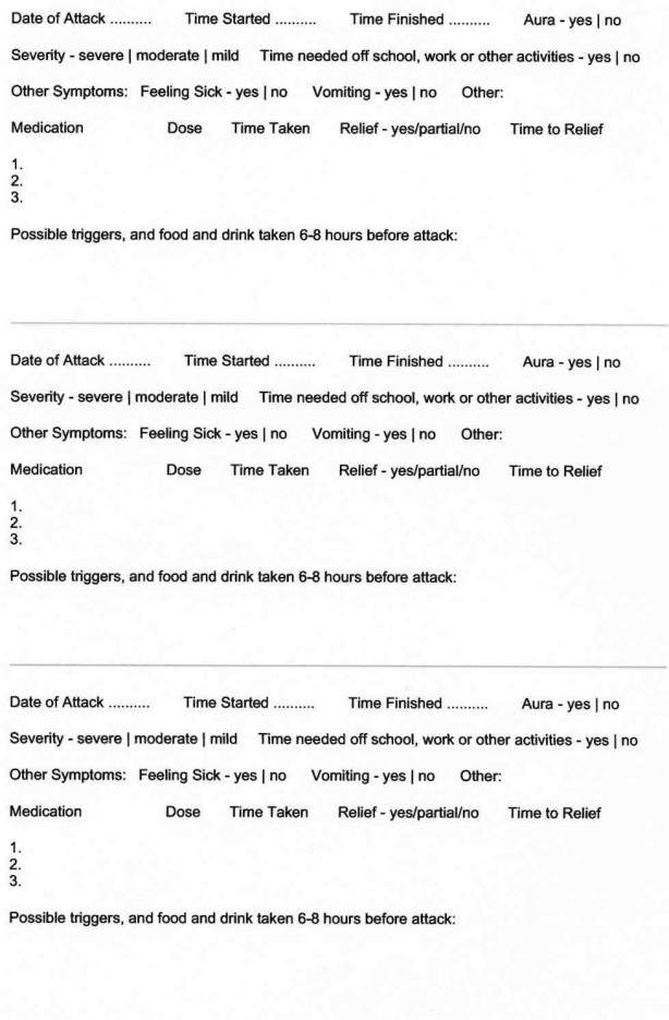 Health Information Crick Medical Practice Migraine Diary - medical note