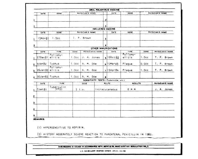 Immunization Record Template  ApigramCom