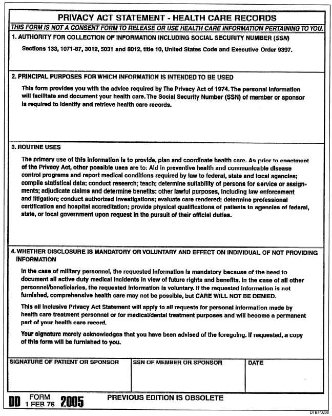 Figure 2-8DD 2005, Privacy Act Statement