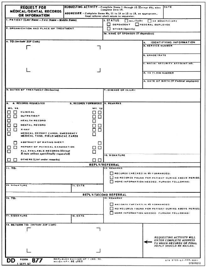 Figure 2-12Request for Medical\/Dental Records or Information, DD - dental records release form