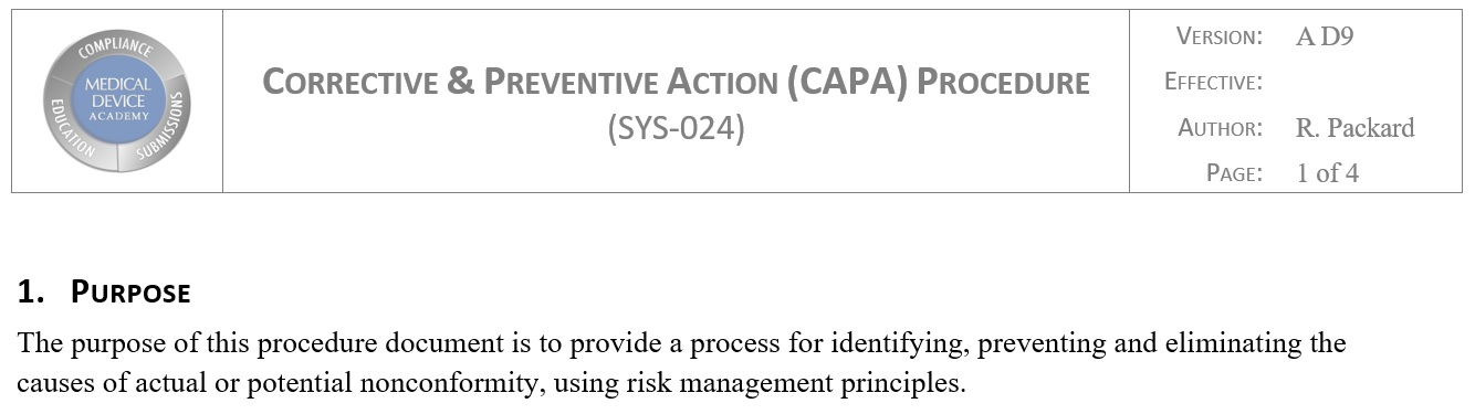 7 Steps to Writing a CAPA Procedure Compliant with ISO 134852016