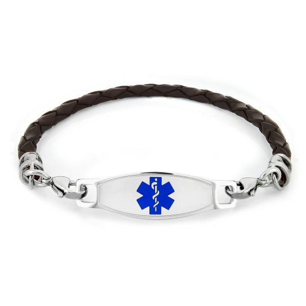 Front View of Medical Alert Bracelet in Blue Color