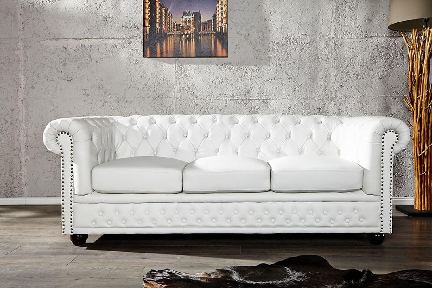 Loungebank Woonkamer Photos Canapé Chesterfield Cuir Blanc