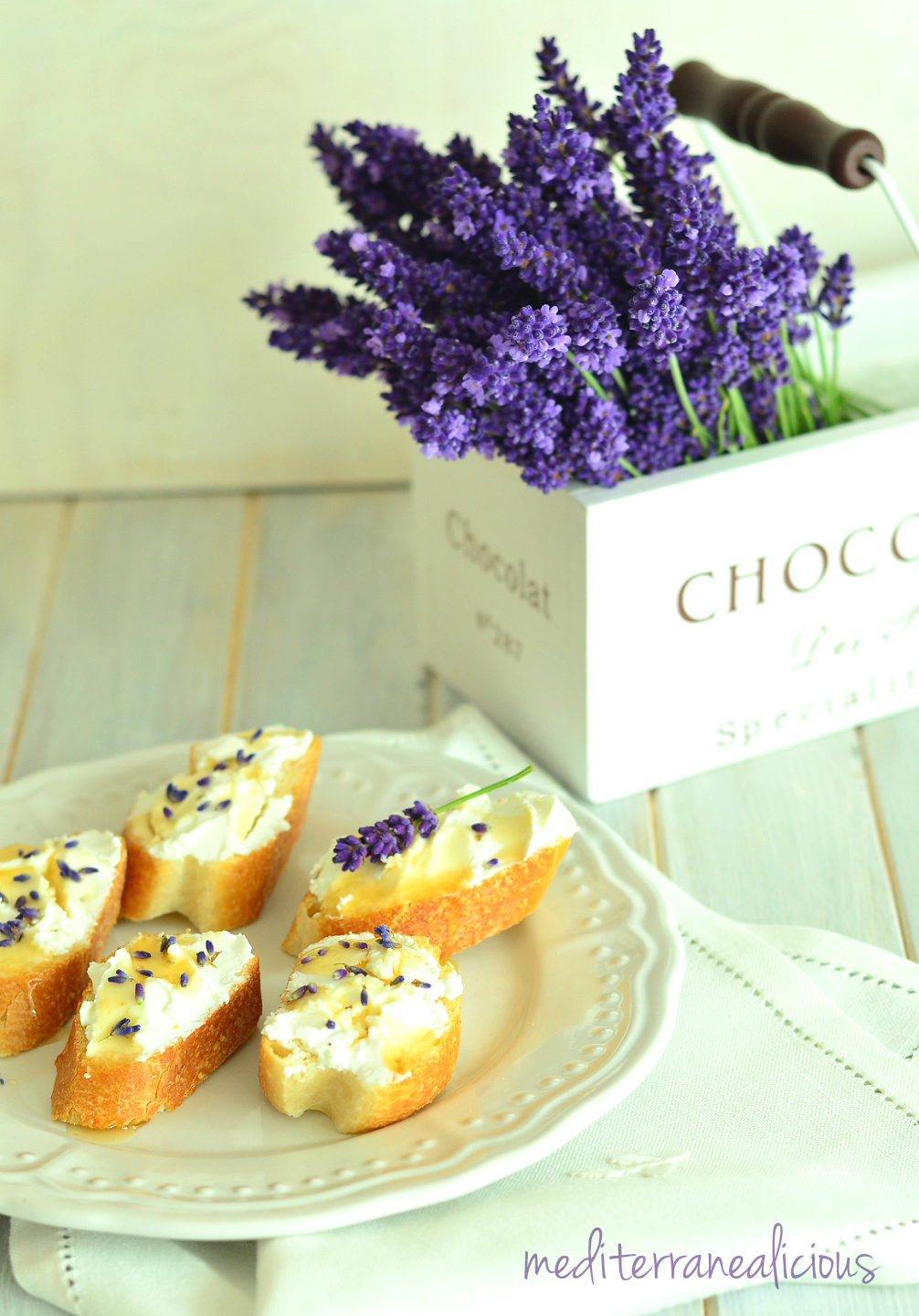 lavender with goat cheese & honey