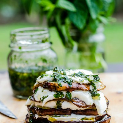 Grilled Eggplant With Buffalo Mozzarella and Mint Pesto