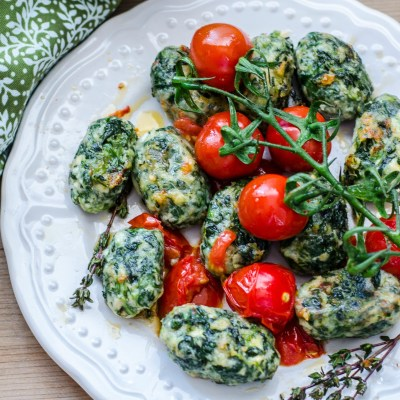 Spinach-Ricotta Gnocchi with Fresh Cherry Tomato Sauce