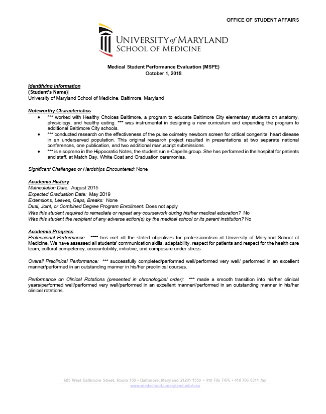 Recommendation Letter Template For Phd Writing The Mspe | University Of Maryland School Of Medicine