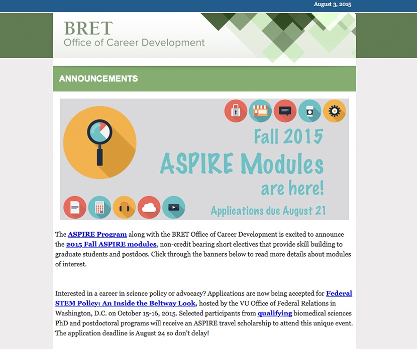 Newsletter BRET Career Development ASPIRE Program Vanderbilt