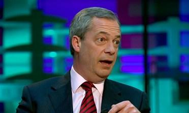 Nigel Farage during interview with Evan Davis BBC