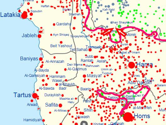 Ofenzíva sýrskych vojsk severne od mesta Hama. podkladová mapa zdroj : Wikipedia