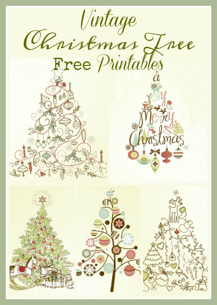 Five Vintage Christmas Tree Printables - What Meegan Makes - christmas tree printables