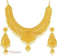 Indian Bridal Necklace Set - StBr3475 - 22Kt Gold (Indian ...