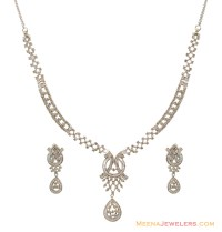 White Gold Necklace And Earring Sets | White Gold
