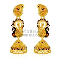 22K Gold Peacock Jhumka Earrings - ErEx20909 - 22k gold ...