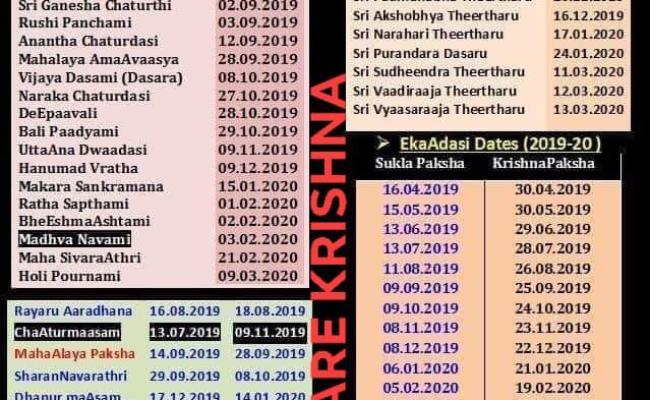 2019 2020 Important Dates Kalpavriksha Kamadhenu