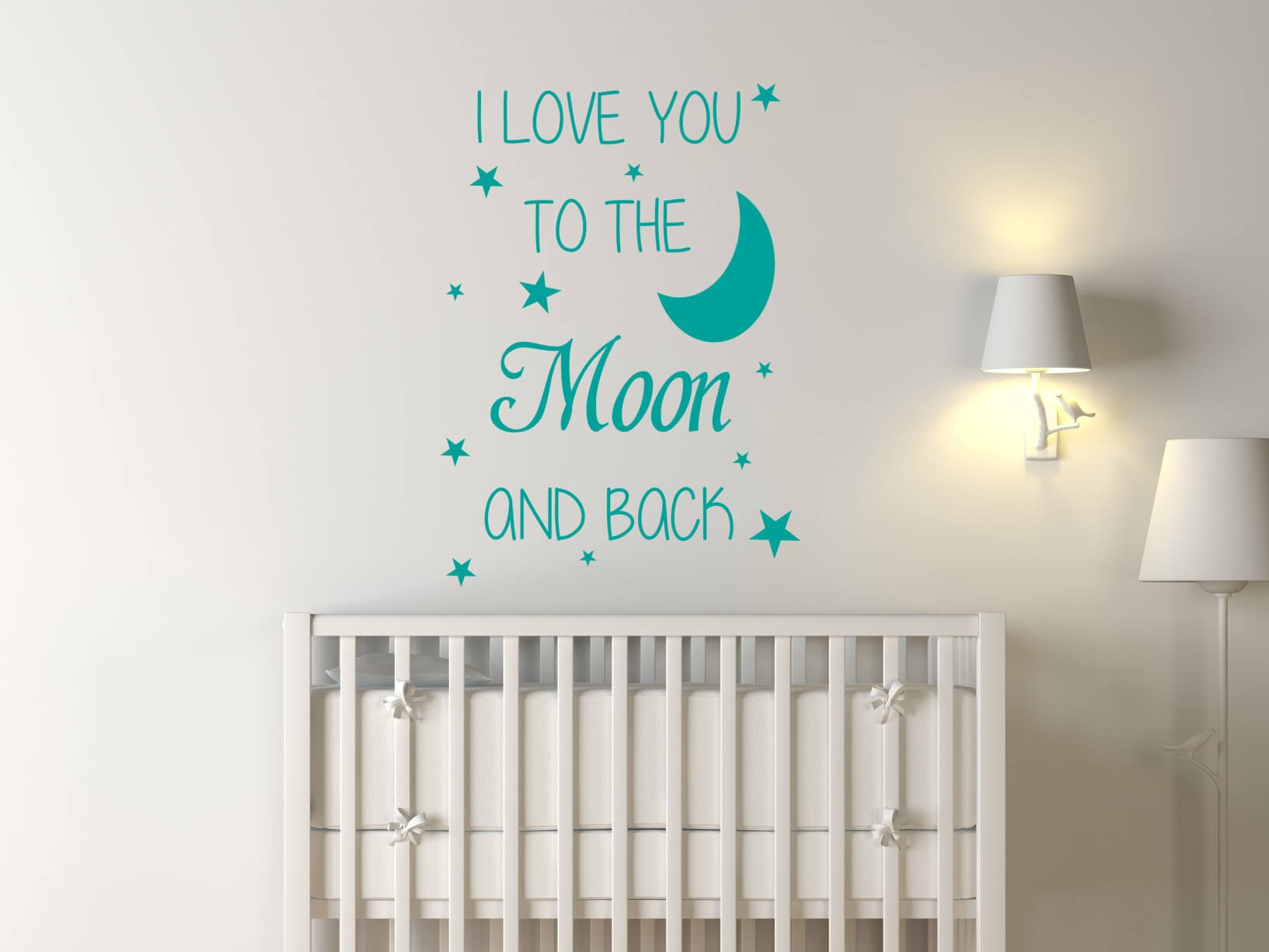 "Slaapkamer Blauw Geel Muursticker ""i Love You To The Moon And Back"""