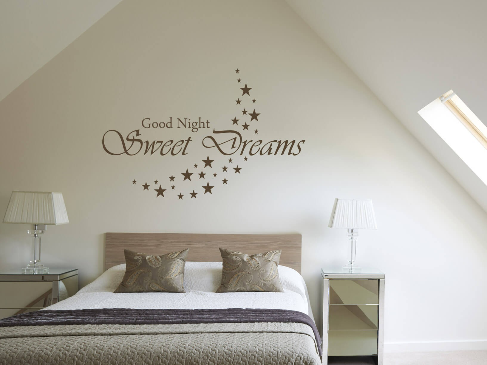 Tekst Op Canvas Slaapkamer Muursticker Quotgood Night Sweet Dreams Quot Met Sterren Maan