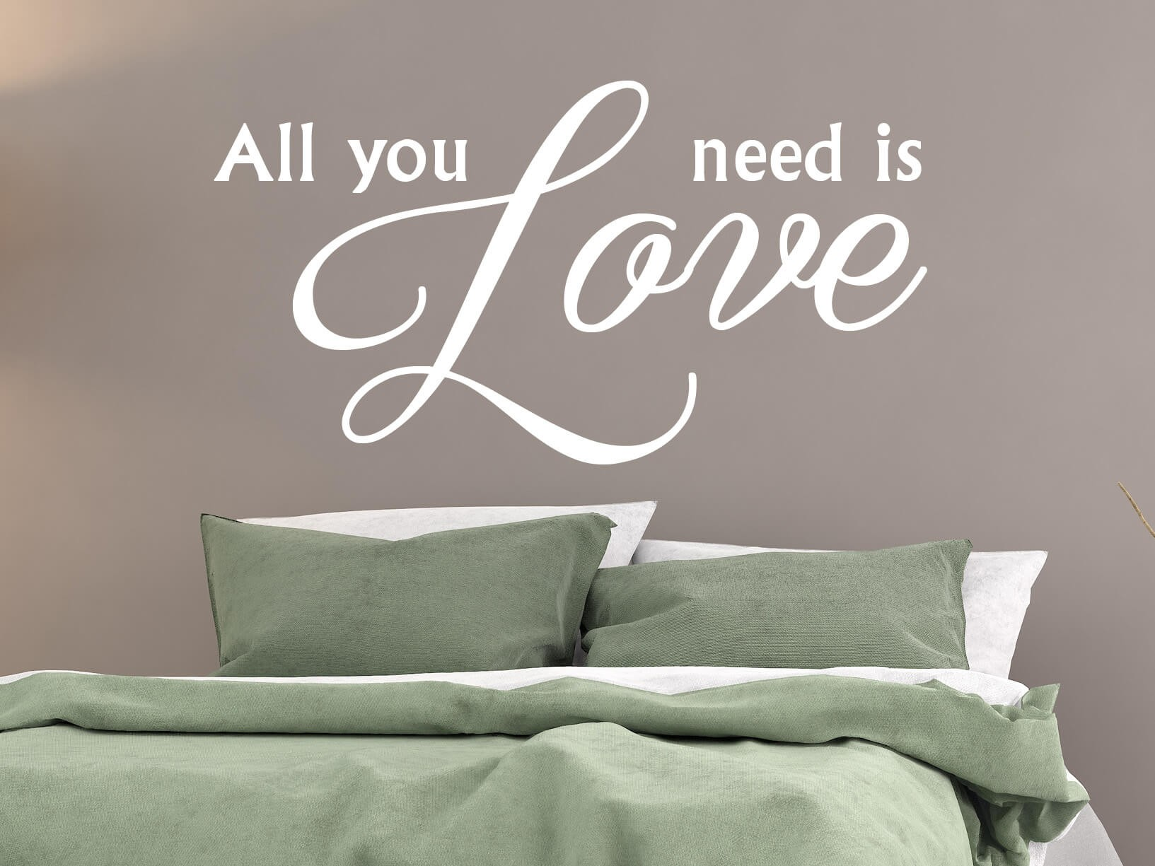 "Bruin Woonkamer Muursticker ""all You Need Is Love"""