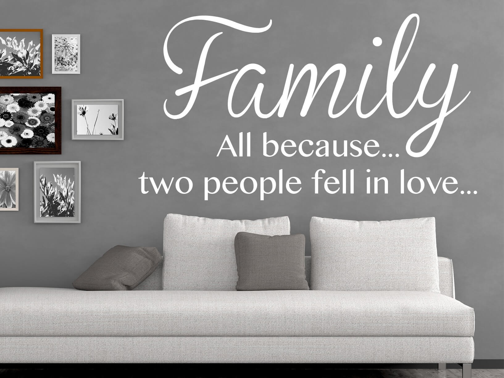 "Antraciet Grijs Woonkamer Muursticker ""family, All Because... Two People Fell In"