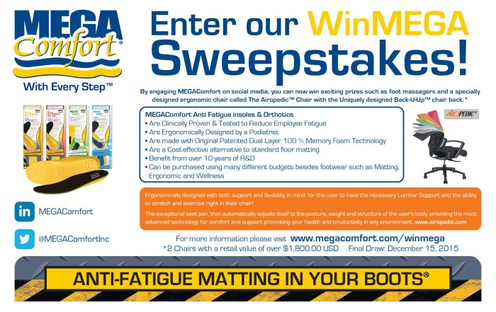 MEGAComfort Social Media Sweepstakes