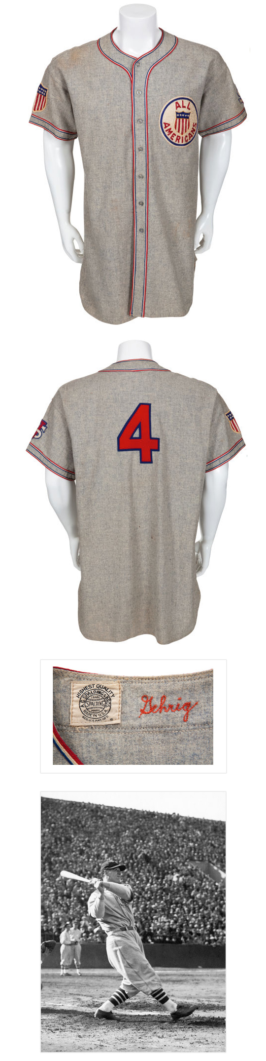 1934 Lou Gehrig Tour of Japan Game Worn Uniform.