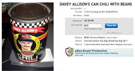 Davey Allison Can Chili With Beans