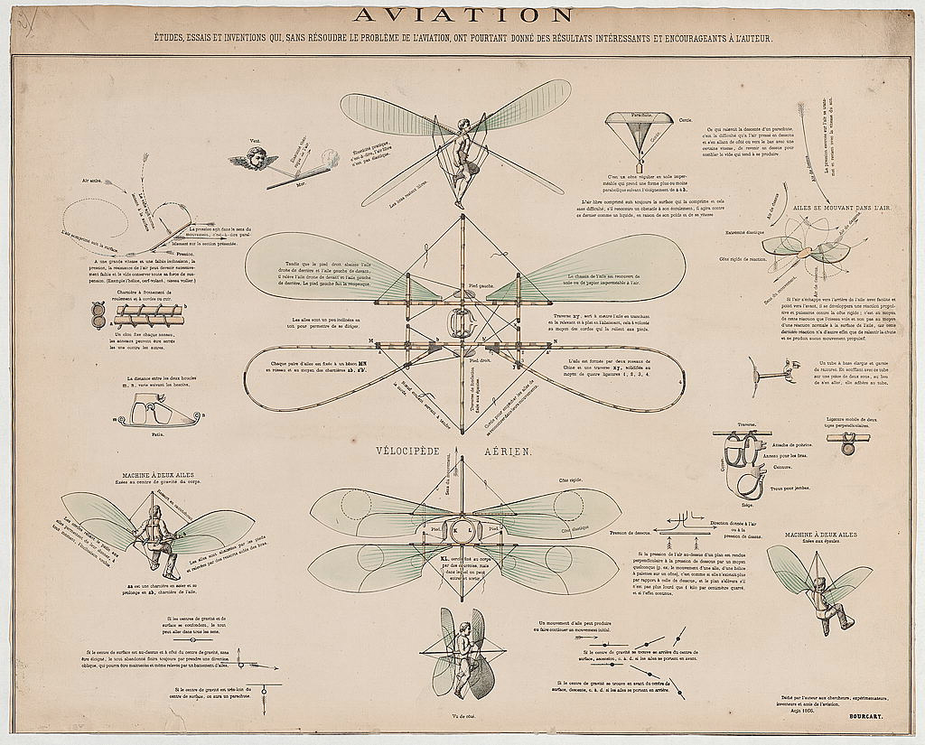 Design Drawings for a Man-Powered Flying Machine [1866]