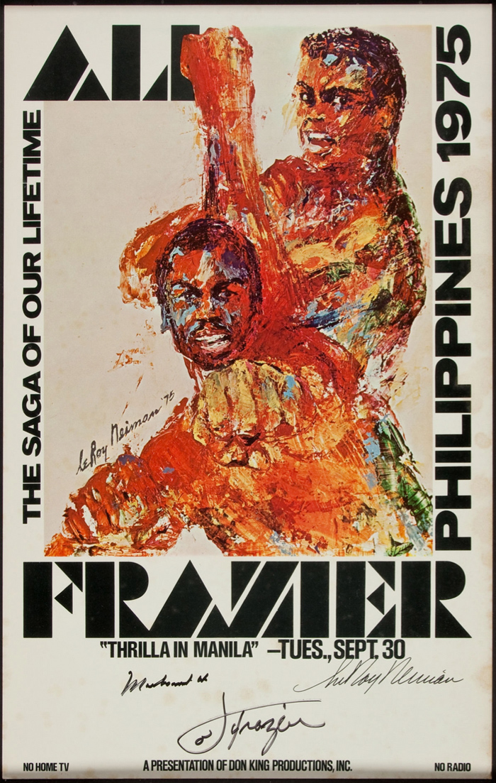 "1975 ""Thrilla in Manila"" Closed Circuit Poster Signed by Ali, Frazier & Neiman"
