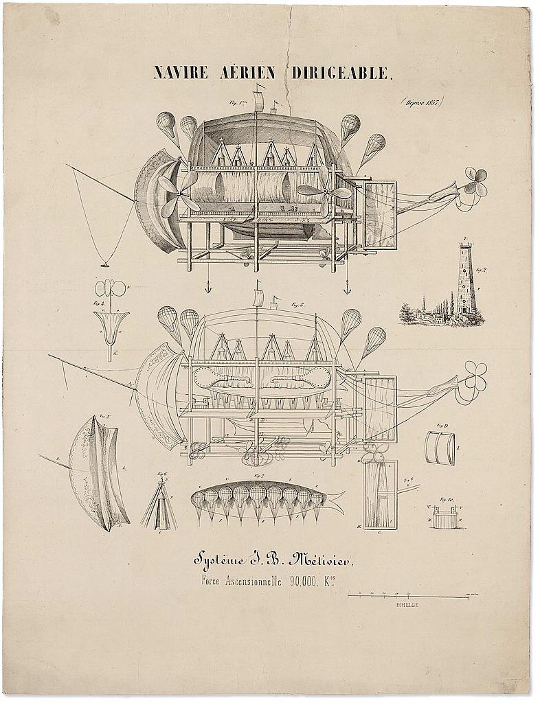 Navire Aérien Dirigeable :: 1857 :: Flying Machine