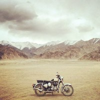 Riding a Royal Enfield in the Shadow of Giants