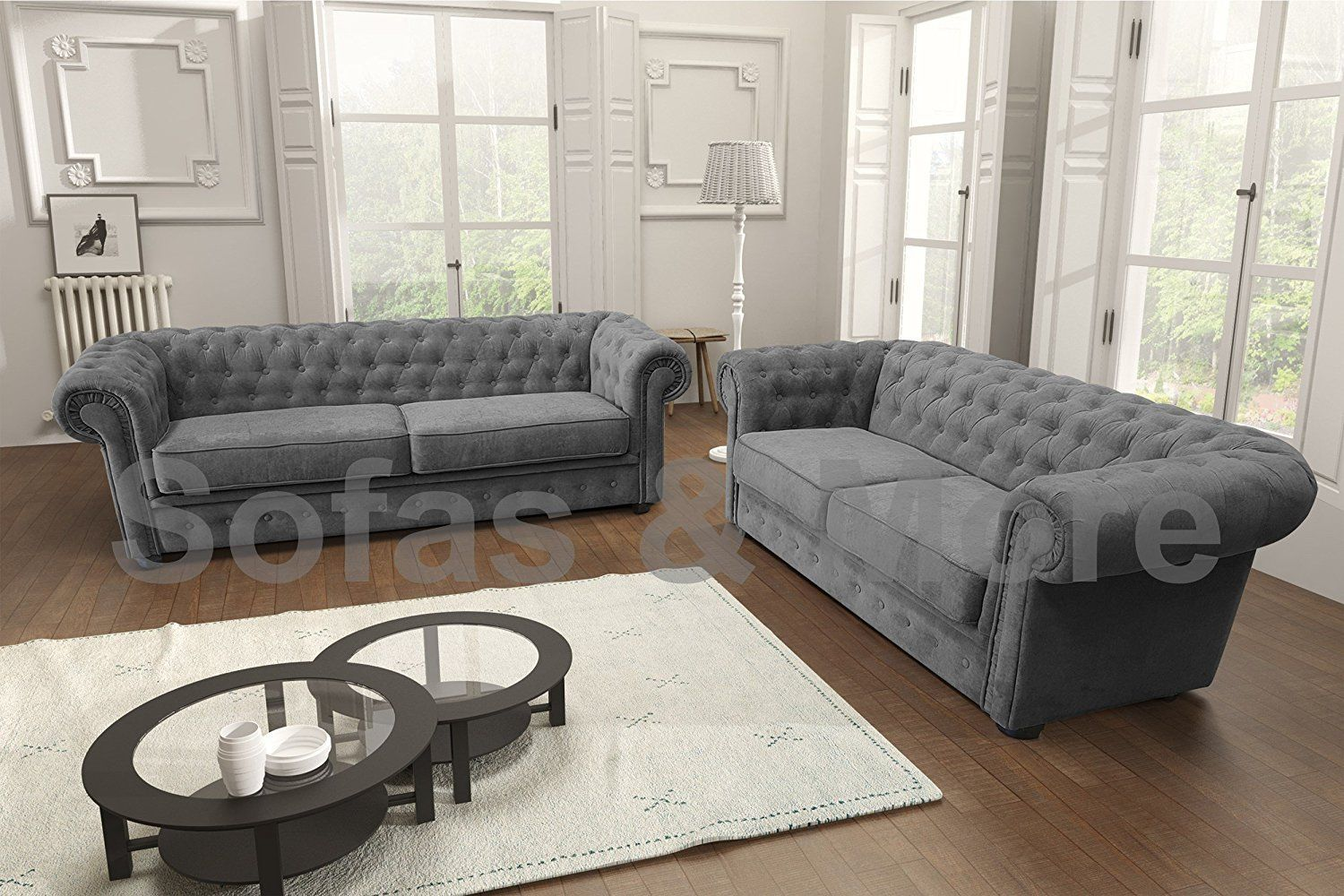 Sofa In Chesterfield Look Chesterfield Style Corner Sofa Set 3 2 Seater Armchair Grey Fabric