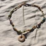 """19"""" necklace I made with colored hemp, a citrine donut bead, various beads, and a handy clip clasp.  $10- Send me a message via the contact page to get my PayPal info for purchase."""