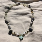 """~17"""" gemstone necklace on nylon-coated wire string, strong magnet clasps and various gemstone beads including aventurine, jade, hematite, and quartz. Strong magnetic clasp is best removed carefully using both hands & separating with a fingernail. $18 - Send me a message via the contact page to get my PayPal info for purchase."""