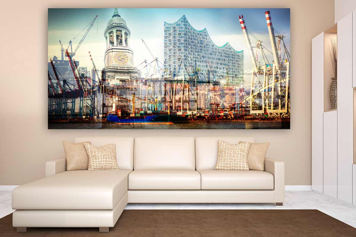 New York Leinwand Hamburger Hafen Panorama Collage. Stadt Skyline Bilder Der