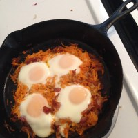Sweet Potato Hash, Bacon, and Egg Skillet