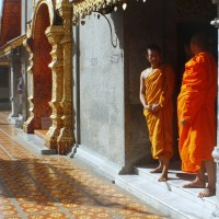 Chatting with a Monk in Thailand