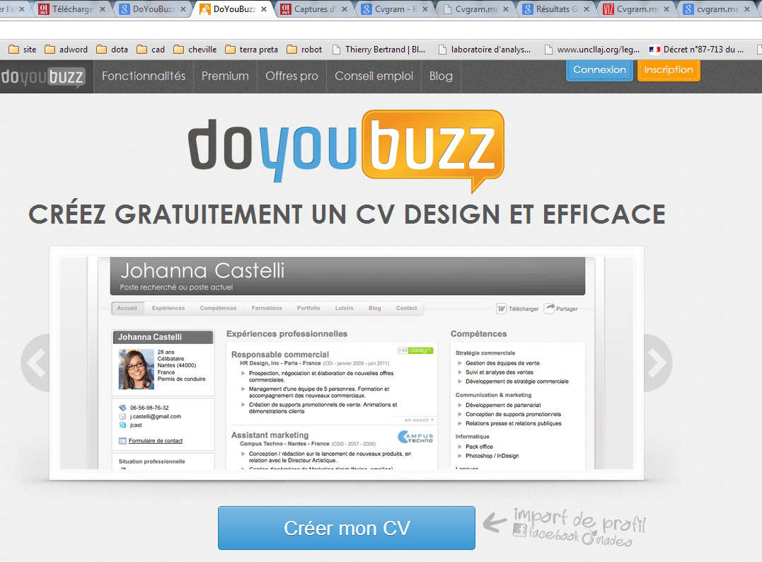 sites pour faire son cv en lignz