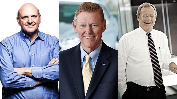 Alan Mulally da Ford e Stephen Elop, ex-Nokia: mais prováveis a suceder Ballmer