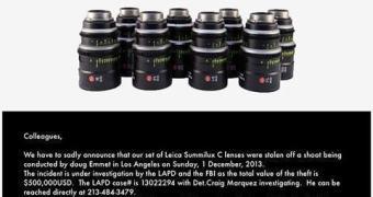 Ladrão em Set de Filmagem leva embora US$ 500 mil em Lentes Leica