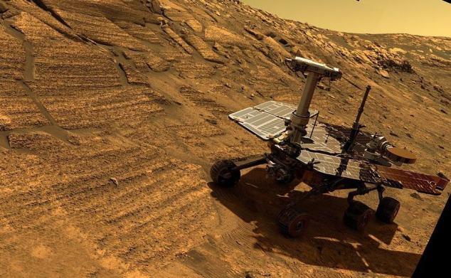 A sonda Opportunity em Marte (simulação da NASA).