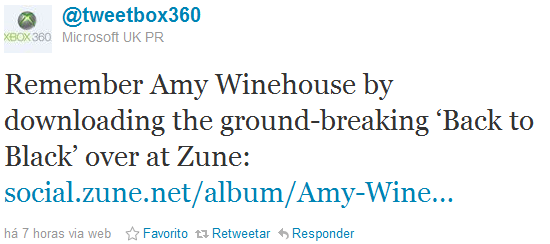 Tweet da Microsoft sobre Amy Winehouse.