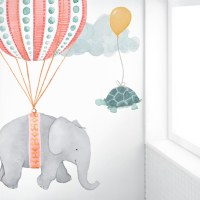 Soaring Friends Hot Air Balloon Fabric Wall Decal  Pink ...