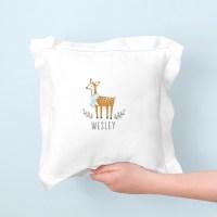 Personalized Deer Pillow  Blue - MejMej