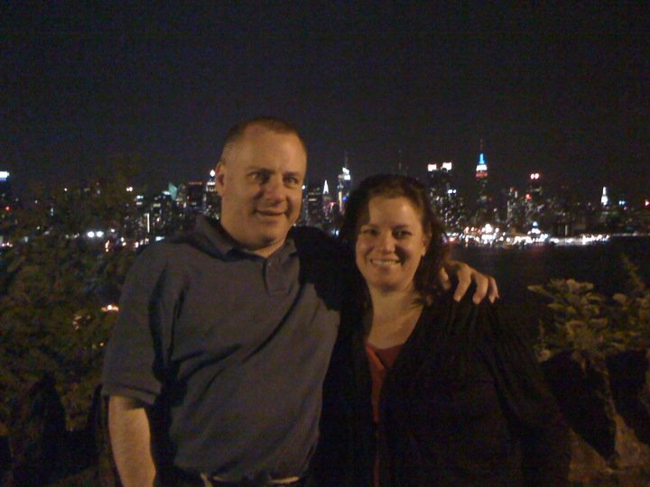 Missy and Tony in Weehawken, New Jersey (USA) with a view of the NYC skyline behind us.