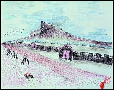 One of Mirikitani's drawings of the internment camp.