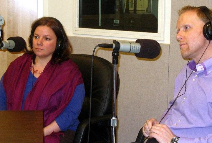 Missy Gluckmann and Arnd Wachter during a radio interview in Virginia.