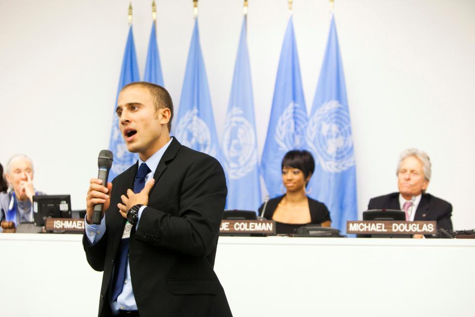 Chris Bashinelli speaking at the United Nations